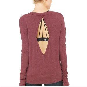 Alo Intricate Long Sleeve Purple Open Back LS Top